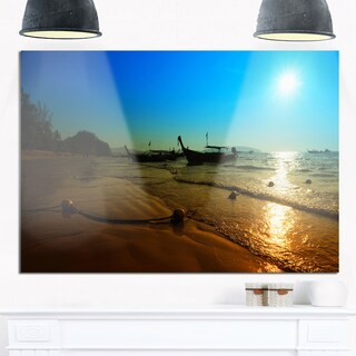 Sunset with Boats in Andaman Sea - Modern Seascape Glossy Metal Wall Art