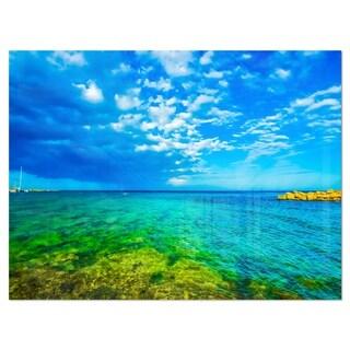 Picturesque Green Blue Seashore - Modern Seascape Glossy Metal Wall Art