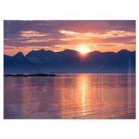 Norwegian Seashore at Sunset - Modern Seascape Glossy Metal Wall Art