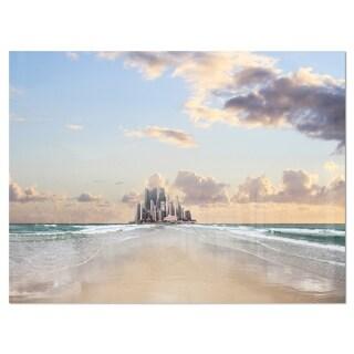 Road along the Beach to City - Modern Seascape Glossy Metal Wall Art