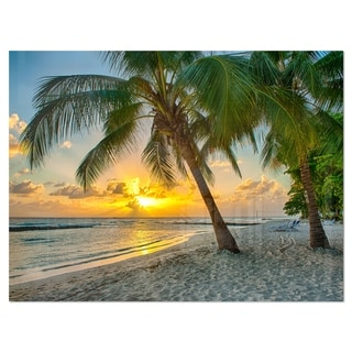 Beach in Caribbean Island of Barbados - Modern Seascape Glossy Metal Wall Art