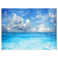 Bright Blue Waters and Sky Panorama - Modern Seascape Glossy Metal Wall Art
