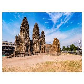 Ancient Temple in Thailand Panorama - Modern Seascape Glossy Metal Wall Art