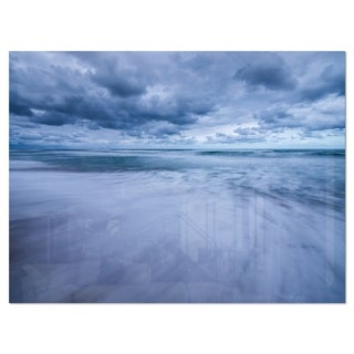 Stormy Clouds Over Ocean - Modern Seascape Glossy Metal Wall Art