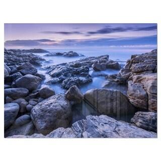 Rocky Blue Seashore in Morning - Modern Seascape Glossy Metal Wall Art