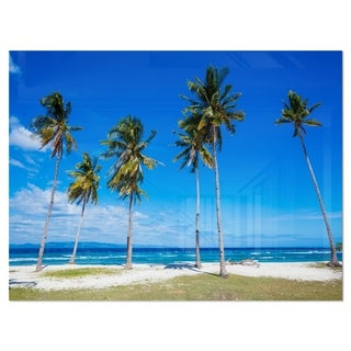Palms on Philippines Tropical Beach - Modern Seascape Glossy Metal Wall Art