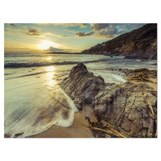 Sunset at Beach Vintage Style - Modern Seascape Glossy Metal Wall Art