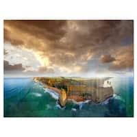 Great Ocean Road Australia Blue - Large Seascape Glossy Metal Wall Art
