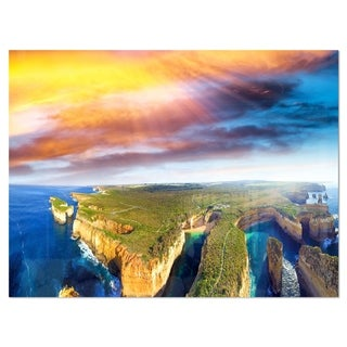 Aerial View of Great Ocean Road - Large Seascape Glossy Metal Wall Art