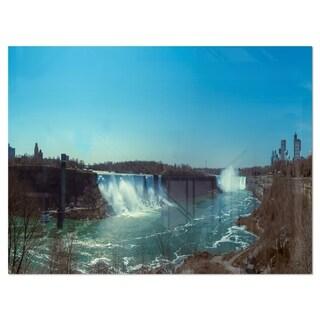 Niagara Falls Viewed from Canada - Large Seascape Glossy Metal Wall Art