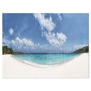 Majestic Seychelles Beach Panorama - Large Seascape Glossy Metal Wall Art