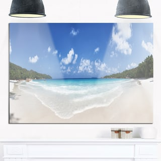 Blue Seychelles Island Panorama - Large Seascape Glossy Metal Wall Art