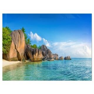 Fantastic Seychelles Seashore - Large Seascape Glossy Metal Wall Art
