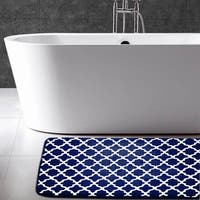 GEOMETRIC PRINTED FLANNEL MEMORY FOAM BATH MAT - 20 x 30