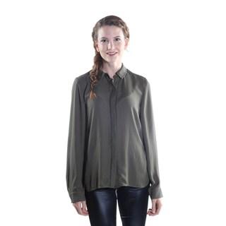 Hadari Women's Collar Button Down Long Sleeve Sheer Blouse
