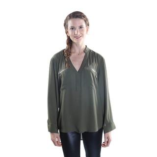 Hadari Women's V-Neck long Sleeve Frontal Zipper Blouse