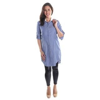 Hadari Women's White Collar Roll-up Button Sleeve Button Down Stripe Midi Business Style Shirt