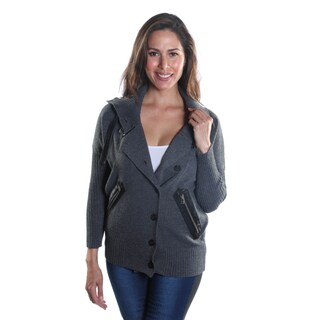 Hadari Women's Collar Button Down Long Sleeve Zipper Sweater-Jacket