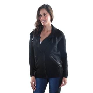 Hadari Women's Collar Button Down Long Sleeve Zipper Sweater-Jacket