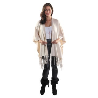 Hadari Women's Open Front Poncho Cardigan with Tassel Trim Hem