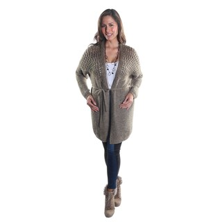 Hadari Women's Open Front Long Sleeve Knitted Cardigan and Drawstring Closure