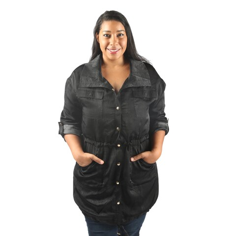 Hadari Women's Plus Size Long Wing Collared Button Down Midi Jacket with Adjustable Drawstring Closing and frontal pockets.