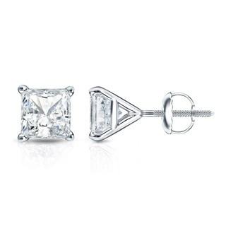 Auriya 14k Gold 1/3ct TDW 4-Prong Martini Screw-Back Princess-Cut Diamond Stud Earrings (H-I, SI1-SI2)