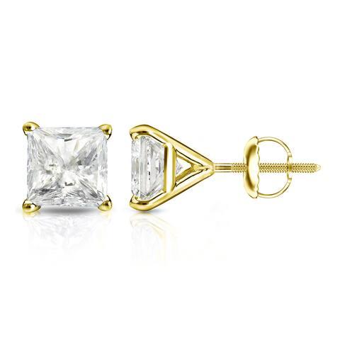 Auriya 1/2ctw Princess-cut Diamond Stud Earrings 14k Gold Martini-set