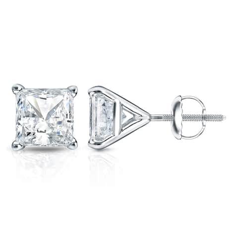 Auriya 1ctw Princess-cut Diamond Stud Earrings 14k Gold Martini-set