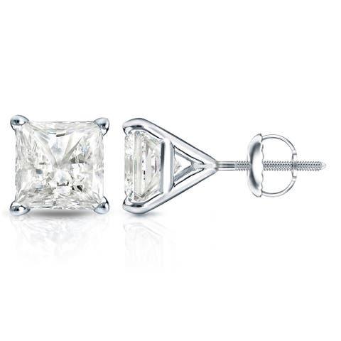 Auriya 14k Gold 1ctw Princess-cut Diamond Stud Earrings Martini-set