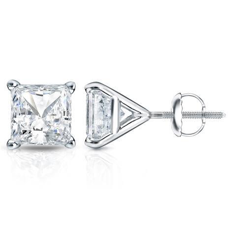 14k Gold Princess-Cut 1ct TDW Martini Set Diamond Stud Earrings by Auriya