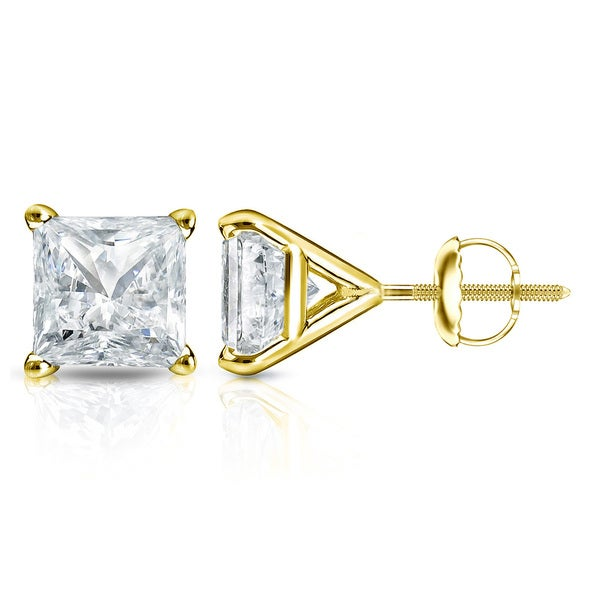 998f6e338 14k Gold Princess-Cut 1 1/2ct TDW Martini Set Diamond Stud Earrings by