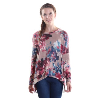 Hadari Women's Round Neckline Long Sleeve Pullover Floral Print Sweater with Back Button Down Closure and Lace Covered Slit