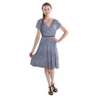 Hadari Women's V-Neck Cap Sleeve Ikat Print High Waist Midi Dress