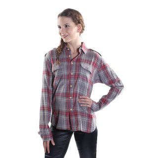 Hadari Women's Collar Button Down Long Sleeve Plaid Shirt with 2 frontal pockets