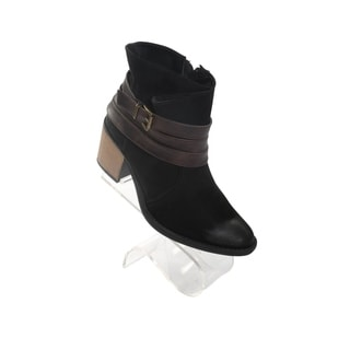 Hadari Women's Round Toe Ankle Buckle Boot with Side Zipper