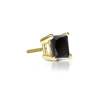 Auriya 14k Gold 1/4ct TDW 4-Prong Basket Screw-Back Princess-Cut Black Diamond Single Stud Earring