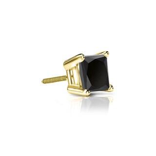 Auriya 14k Gold 1/4ct TDW 4-Prong Basket Screw-Back Princess-Cut Black Diamond Single Stud Earring