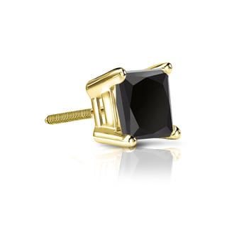 Auriya 14k Gold 3/4ct TDW 4-Prong Basket Screw-Back Princess-Cut Black Diamond Single Stud Earring