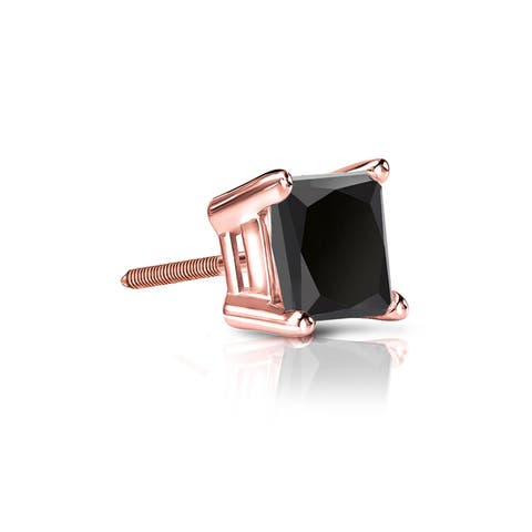 Auriya 1/2ctw Princess-cut SINGLE STUD (1) Black Diamond Earring 14k Gold