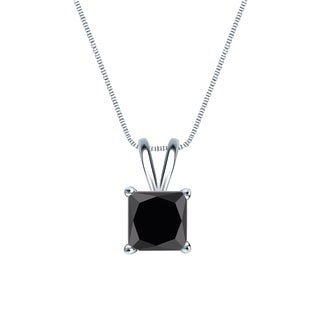 Auriya 1ctw Black Princess Cut Diamond Solitaire Necklace 14k Gold