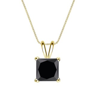 Auriya 14k Gold 2ct TDW Princess-Cut Black Diamond Solitaire Necklace