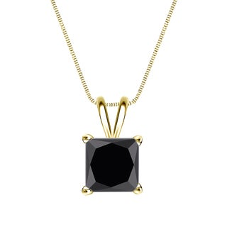 Auriya 14k Gold 2ct TDW Princess-Cut Black Diamond Solitaire Necklace