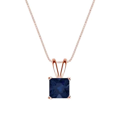14k Gold Square Princess-cut 1/2ct Blue Sapphire Solitaire Necklace by Auriya