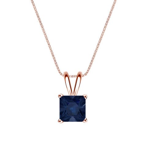 14k Gold Square Princess-cut 3/4ct Blue Sapphire Solitaire Necklace by Auriya