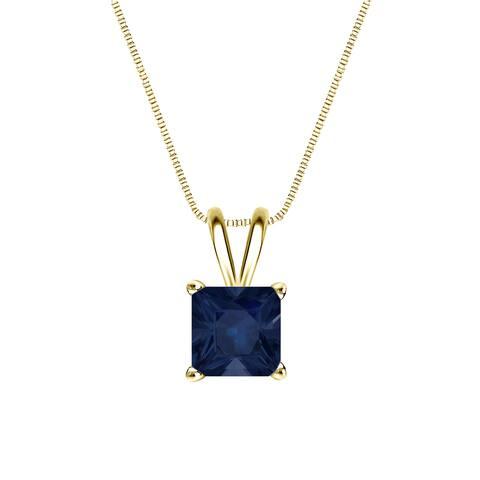 Auriya 14k Gold 1ct Princess-cut Sapphire Solitaire Necklace