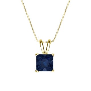 Auriya 14k Gold 1ct Princess-Cut Blue Sapphire Gemstone Solitaire Necklace