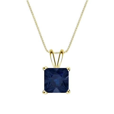 Auriya 14k Gold 1 1/2ct Princess-Cut Blue Sapphire Gemstone Solitaire Necklace