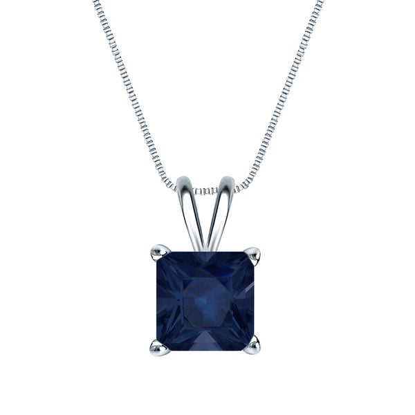 14k Gold Square Princess-cut 2ct Blue Sapphire Solitaire Necklace by Auriya
