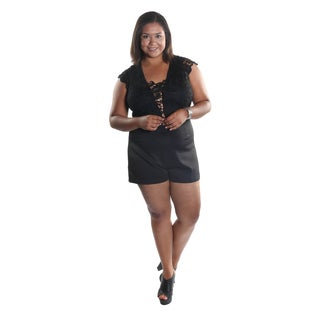 Hadari Women's Plus Size Squared Laced Neckline with Laced V-Neck Cut Cap Sleeve Short Romper with Back Zip Closure